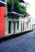 Puerto Rico Prints - Blue Brick Street Old San Juan Print by Thomas R Fletcher