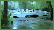 Moss Green Prints - Blue Bridge in Magnolia Print by Mindy Newman