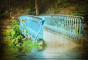 Garden Scene Metal Prints - Blue Bridge Metal Print by Svetlana Sewell