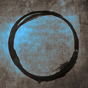 Gallery Digital Art Posters - Blue Brown Enso Poster by Julie Niemela
