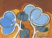 Cindy Davis Art - Blue Bubble Buds by Cindy Davis