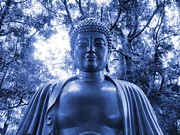 E White Framed Prints - Blue Buddha Framed Print by E White