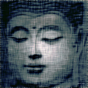 Artography Digital Art Prints - Blue Buddha Print by Jayne Logan Intveld