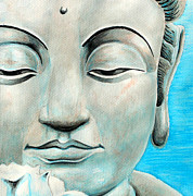 Jose Miguel Barrionuevo Metal Prints - Blue Buddha Metal Print by Jose Miguel Barrionuevo
