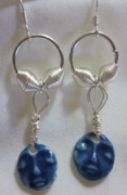 Abstract Jewelry - Blue Buddhas with Silver Earrings by Janet  Telander
