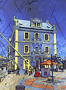 Jan Hattingh Prints - Blue Building Print by Jan Hattingh