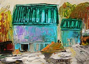 Old Barns Drawings Metal Prints - Blue Buildings Together-Musing Metal Print by John  Williams