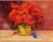 Christmas Flower Paintings - Blue Bulb by Laura Lee Zanghetti