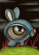 Alice In Wonderland Painting Metal Prints - Blue Bunny Metal Print by  Abril Andrade Griffith
