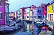 Boats On Water Digital Art Posters - Blue Burano Poster by Zeana Romanovna