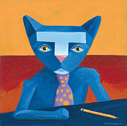 Business Paintings - Blue Business Cat by Mike Lawrence