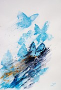 Best Selling Posters - Blue butterflies Poster by Zaira Dzhaubaeva