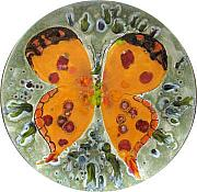 Orange Ceramics Originals - Blue Butterfly on Yellow background by Victor Delgado