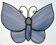 Insect Glass Art - Blue Butterfly suncatcher by Shelly Reid