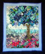 Quilting Tapestries - Textiles Posters - Blue Butterfly Tree Poster by Sarah Hornsby