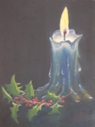 Candle Painting Originals - Blue Candle by Patricia Caldwell