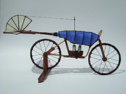Wheels Sculpture Prints - Blue Caravan Print by Jim Casey