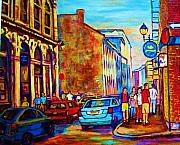 Montreal Restaurants Paintings - Blue Cars at the Resto Bar by Carole Spandau