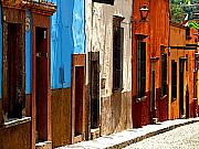 San Miguel De Allende Framed Prints - Blue Casa Row Framed Print by Olden Mexico
