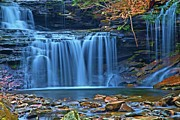 Pa State Parks Photos - Blue Cascade Falls by Adam Jewell