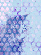 Cat Art Digital Art Prints - Blue Cat Print by Ann Powell