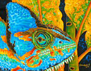 Stretched Canvas Tapestries - Textiles Framed Prints - Blue Chameleon  Framed Print by Daniel Jean-Baptiste