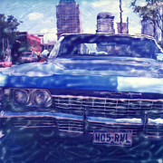 6th Street Posters - Blue Chevy Poster by Pauline Jacobson