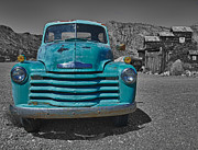 Turquoise And Rust Posters - Blue Chevy Truck Poster by Joan McDaniel