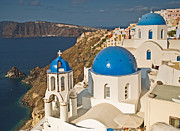 Belltower Posters - Blue Churches of Santorini Poster by Jim Chamberlain