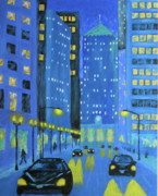 Chicago At Night Paintings - Blue City Blues by J Loren Reedy