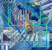 Squares Art - Blue City Day by Jane Bucci