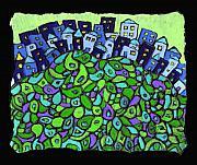 Blue City On A Hill Print by Wayne Potrafka