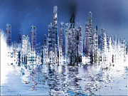 Stuart Turnbull Art - Blue city by Stuart Turnbull