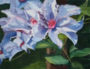 Vine Painting Originals - Blue Climatis Buddies by Tina  Sander