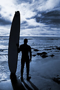 Surf Silhouette Prints - Blue Coast Surf Print by Greg Stechishin