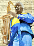 New Orleans Oil Paintings - Blue Coat Sax Player by Michael Lee