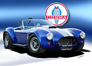 Convertible Car Posters - Blue Cobra Poster by Rod Seel