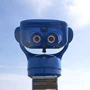 Binoculars Photos - Blue coin-operated binoculars by Bernard Jaubert
