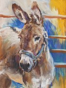 Donkey Pastels Framed Prints - Blue Collar Donkey Framed Print by Debbie Anderson