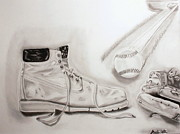 Baseball Glove Drawings - Blue Collars Past time by Raul Martinez