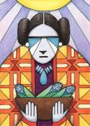 Native Drawings Prints - Blue Corn Woman Print by Amy S Turner