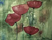 Poppies Artwork Paintings - Blue Corner by Julie Lueders