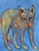 Coyote Art Framed Prints - Blue Coyote Framed Print by Carol Suzanne Niebuhr