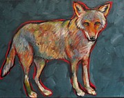 Coyote Paintings - Blue Coyote Santa Fe Style by Carol Suzanne Niebuhr