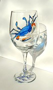 Hand Painted Glassware - Blue Crab on Glass by Pauline Ross