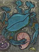Sea Pastels Prints - Blue Crab Print by Stu Hanson