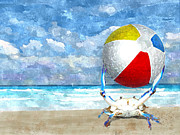 Hawkins Mixed Media - Blue Crab With Beach Ball by Kim Hawkins Eastern Sierra Gallery