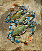 Slate Paintings - Blue Crabs by Elaine Hodges
