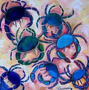 Crab Posters - Blue Crabs Poster by Patti Schermerhorn