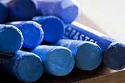 Supplies Prints - Blue crayons Print by Frank Tschakert